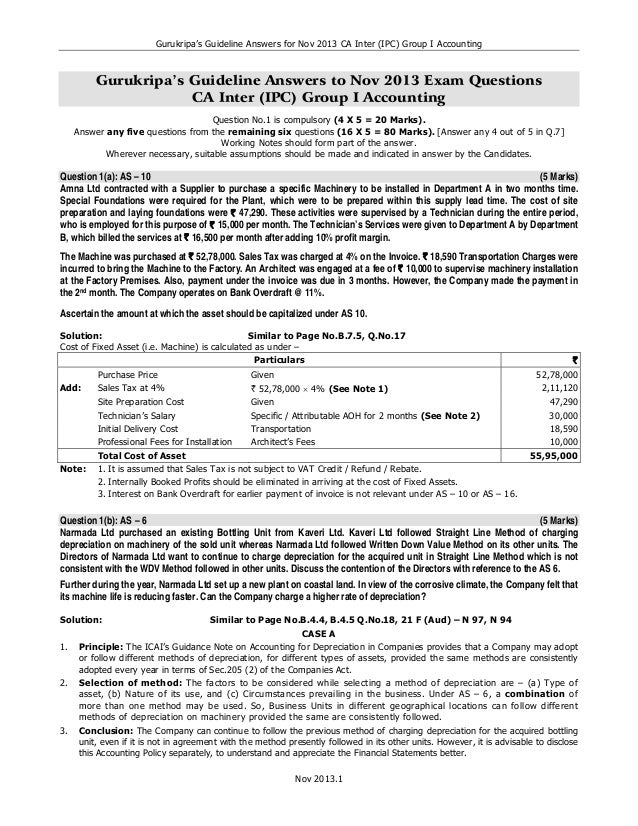 Gurukripa's Guideline Answers for Nov 2013 CA Inter (IPC) Group I Accounting  Gurukripa's Guideline Answers to Nov 2013 Ex...