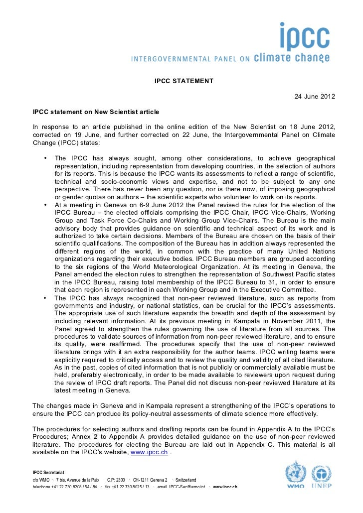 IPCC STATEMENT                                               ...