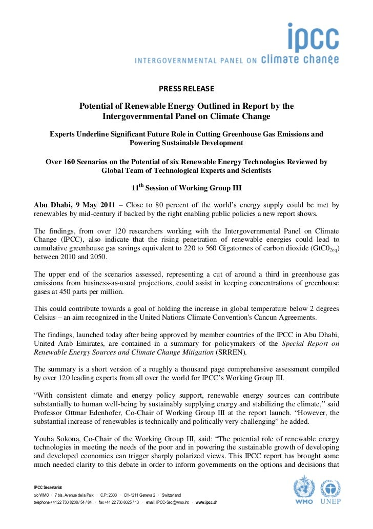 PRESS RELEASE                        Potential of Renewable Energy Outlined in Report by the                              ...