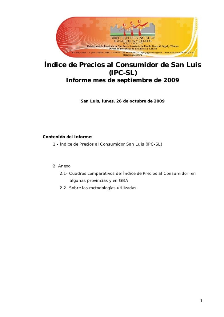 Índice de Precios al Consumidor de San Luis                   (IPC-SL)           Informe mes de septiembre de 2009        ...