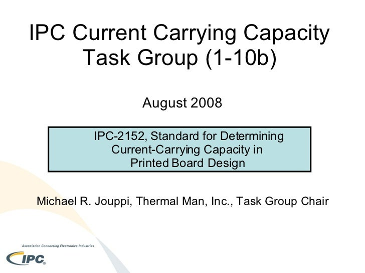 IPC Current Carrying Capacity  Task Group (1-10b)  August 2008 Michael R. Jouppi, Thermal Man, Inc., Task Group Chair <ul>...
