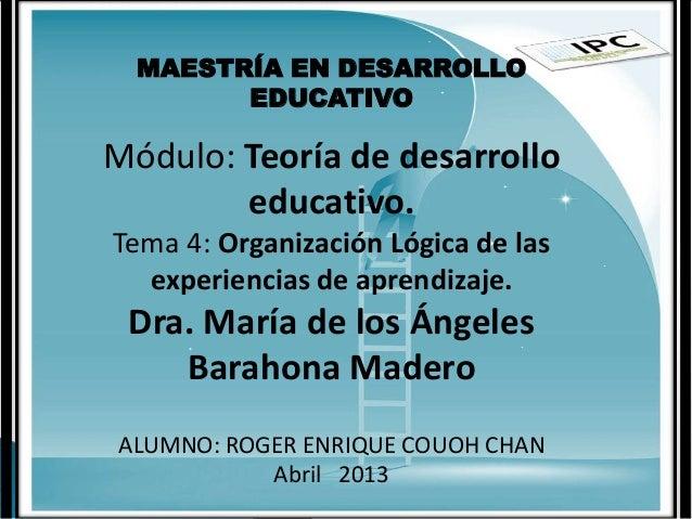 MAESTRÍA EN DESARROLLOEDUCATIVOMódulo: Teoría de desarrolloeducativo.Tema 4: Organización Lógica de lasexperiencias de apr...