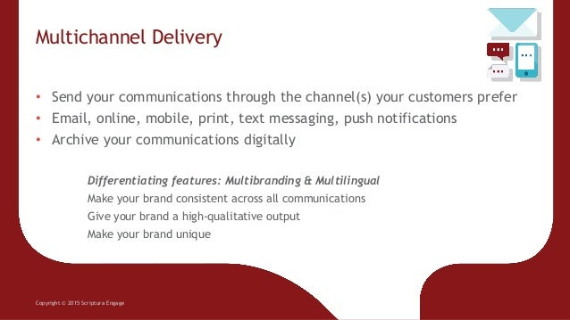 Multichannel Delivery Copyright © 2015 Scriptura Engage • Send your communications through the channel(s) your customers p...