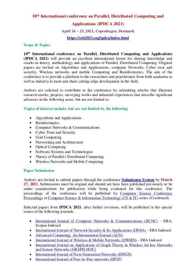 10th International conference on Parallel, Distributed Computing and Applications (IPDCA 2021) April 24 ~ 25, 2021, Copenh...