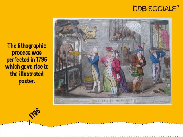 The lithographic  process was  perfected in 1796  which gave rise to  the illustrated  poster.