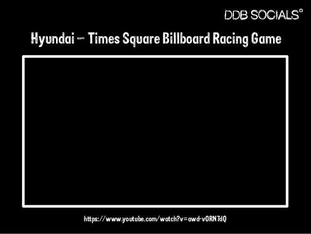 Hyundai – Times Square Billboard Racing Game  https://www.youtube.com/watch?v=awd-vORN7dQ