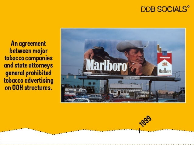 An agreement  between major  tobacco companies  and state attorneys  general prohibited  tobacco advertising  on OOH struc...
