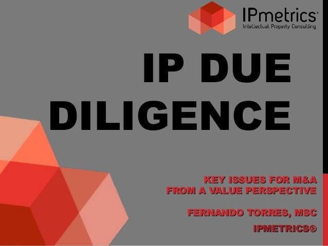 IP DUE DILIGENCE KEY ISSUES FOR M&AKEY ISSUES FOR M&A FROM A VALUE PERSPECTIVEFROM A VALUE PERSPECTIVE FERNANDO TORRES, MS...
