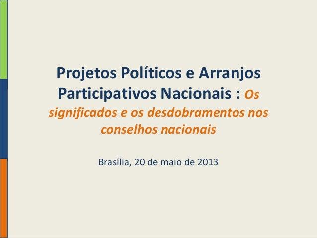 Projetos Políticos e Arranjos Participativos Nacionais : Os significados e os desdobramentos nos conselhos nacionais Brasí...