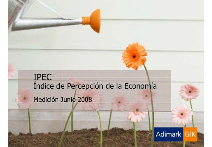 Adimark-GfK   Ipec Junio 2008       Índice de Percepción de la Economía   Junio 2008                   IPEC               ...