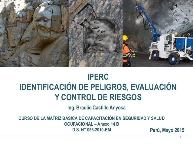 IPERC IDENTIFICACIÓN DE PELIGROS, EVALUACIÓN Y CONTROL DE RIESGOS 1 Ing. Braulio Castillo Anyosa CURSO DE LA MATRIZ BÁSICA...