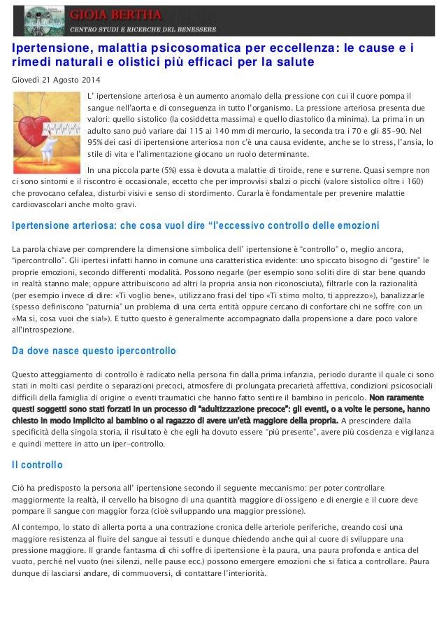 Ipertensione, malattia psicosomatica per eccellenza: le..