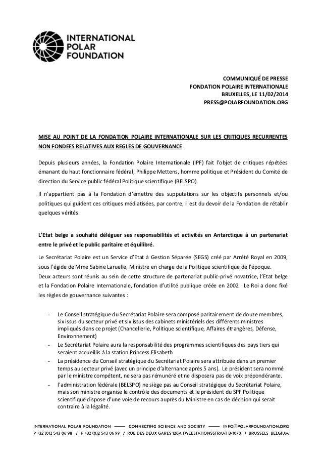 COMMUNIQUÉ  DE  PRESSE   FONDATION  POLAIRE  INTERNATIONALE   BRUXELLES,  LE  11/02/2014   PRESS@POLARFO...