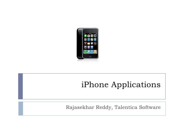 iPhone Applications Rajasekhar Reddy, Talentica Software