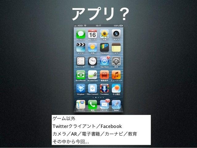 アプリ?ゲーム以外Twitterクライアント/Facebookカメラ/AR/電子書籍/カーナビ/教育その中から今回...