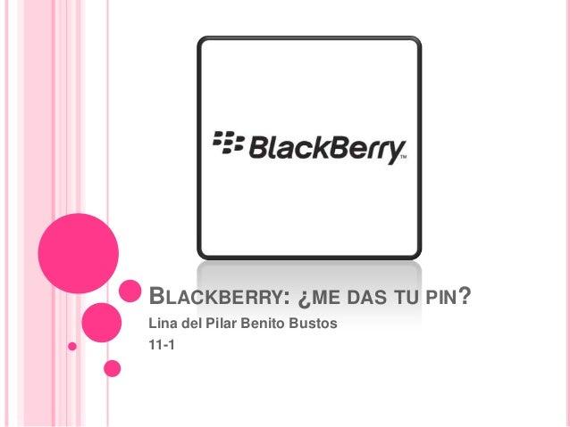 BLACKBERRY: ¿ME DAS TU PIN?Lina del Pilar Benito Bustos11-1
