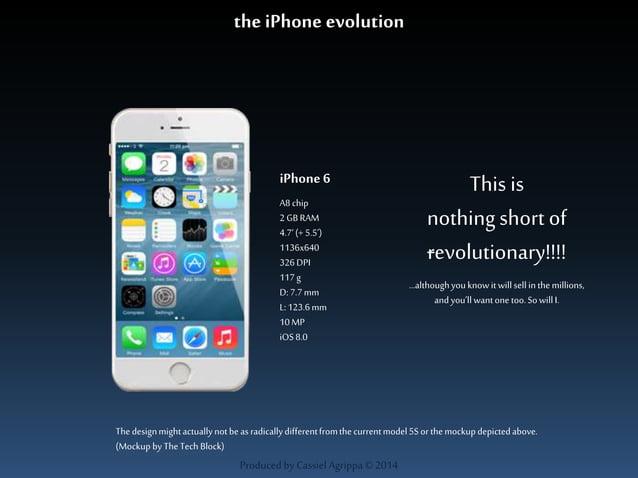 the iPhone evolution  iPhone 6  A8 chip  2 GB RAM  4.7' (+ 5.5')  1136x640  326 DPI  117 g  D: 7.7 mm  L: 123.6 mm  10 MP ...
