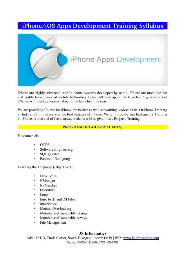Iphone - ios apps development training syllabus & iphone training in …