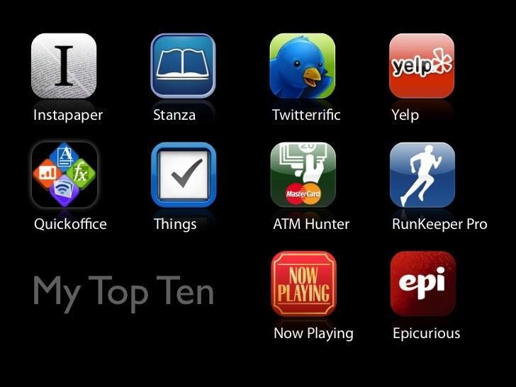 Instapaper   Stanza   Twitterri c   Yelp     Quickoffice    Things   ATM Hunter    RunKeeper Pro    My Top Ten              ...