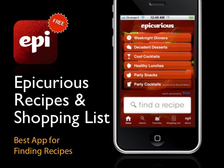 FRE             E     Epicurious Recipes & Shopping List Best App for Finding Recipes