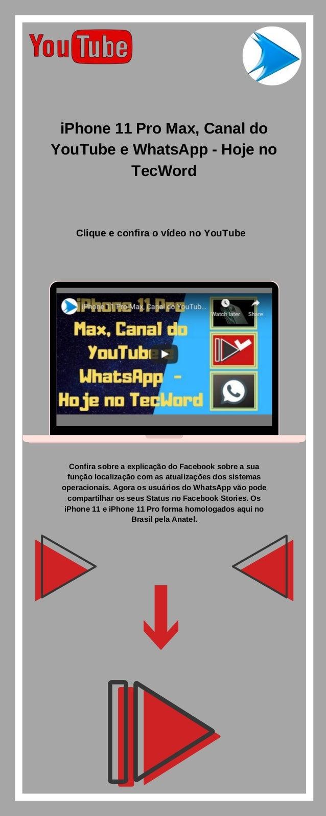 Iphone 11 Pro Max Canal Do Youtube E Whatsapp Hoje No Tecword