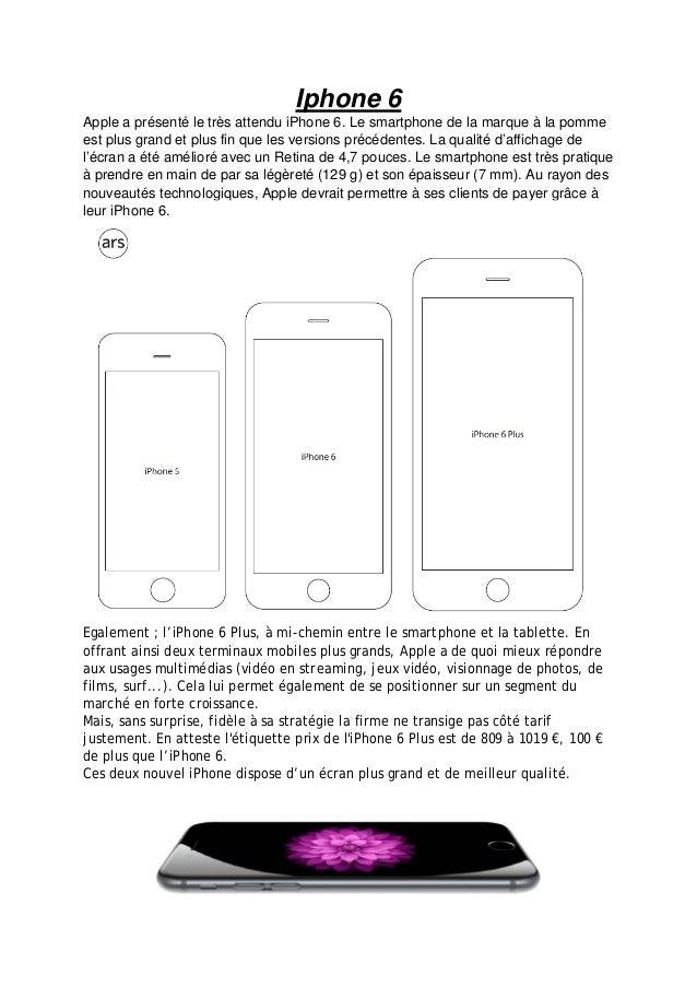 Iphone 6  Apple a présenté le très attendu iPhone 6. Le smartphone de la marque à la pomme est plus grand et plus fin que ...