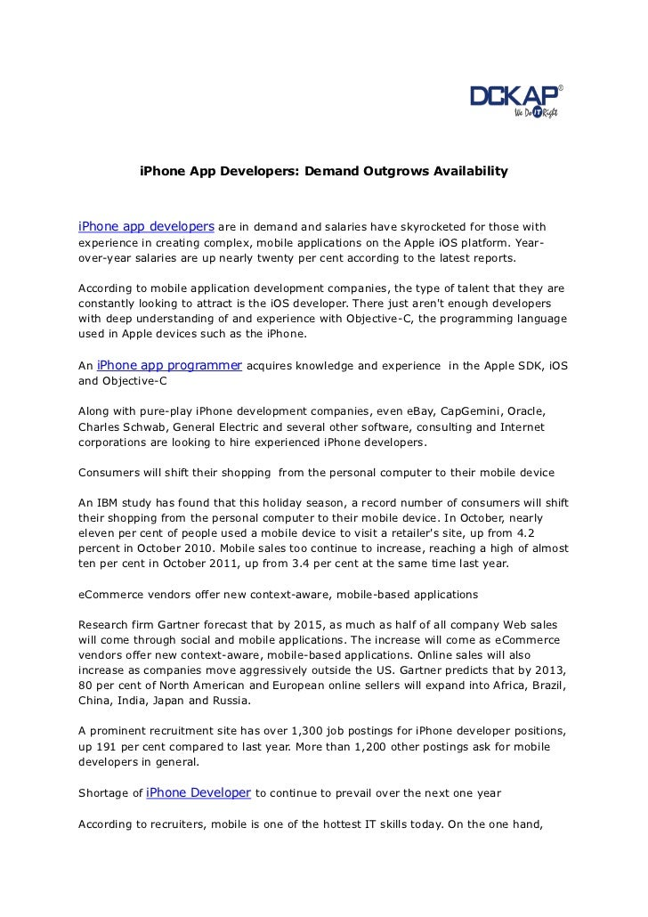 iPhone App Developers: Demand Outgrows AvailabilityiPhone app developers are in demand and salaries have skyrocketed for t...