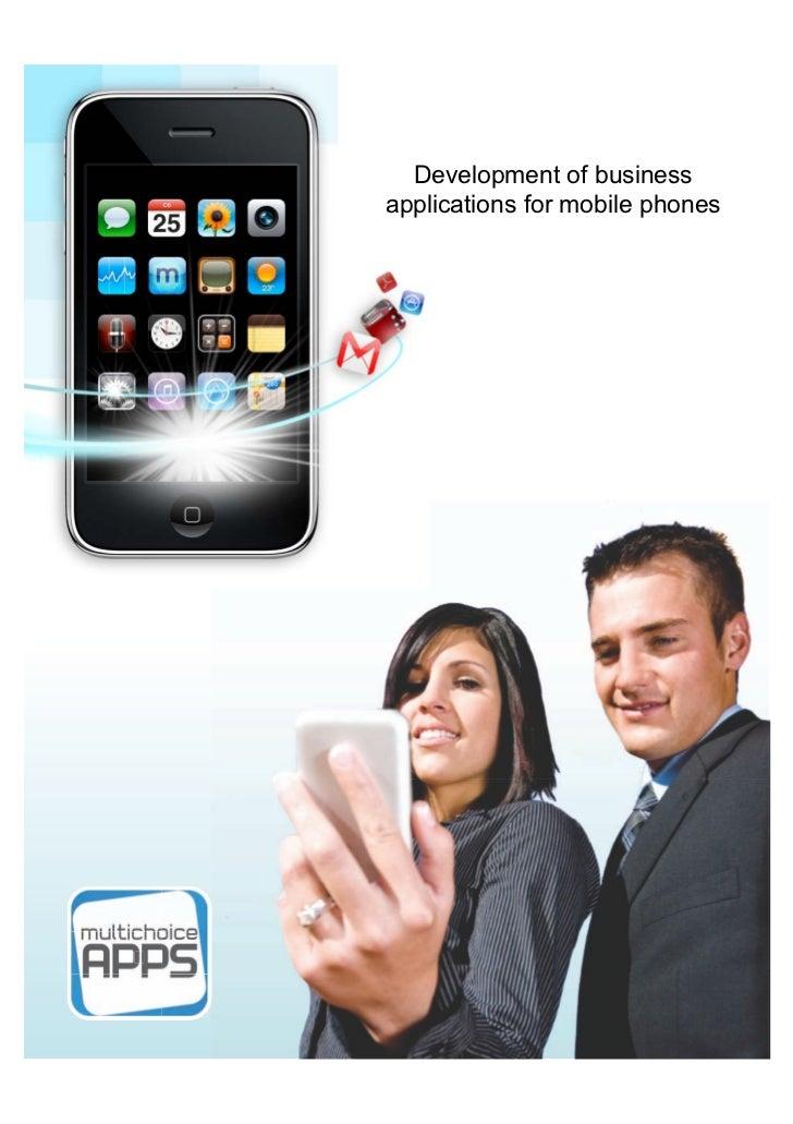 Development of businessapplications for mobile phones