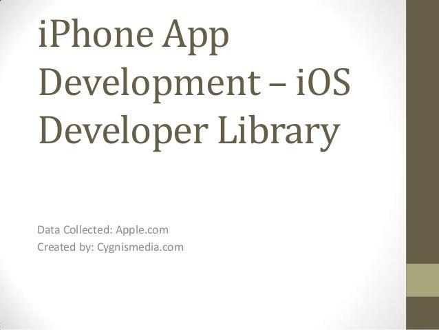 iPhone App Development – iOS Developer Library Data Collected: Apple.com Created by: Cygnismedia.com