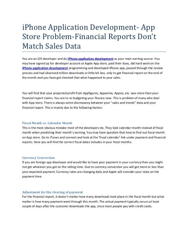 IPhone Application Development  AppStore Problem Financial Reports  Donu0027tMatch Sales DataYou Are An  Daily Financial Report