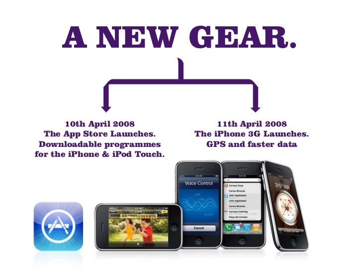 A NEW GEAR.         10th April 2008              11th April 2008   The App Store Launches.      The iPhone 3G Launches.  D...
