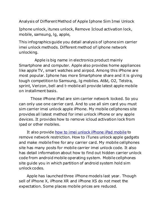 Apple Iphone Carrier Sim Imei Unlock Infographics Mobile