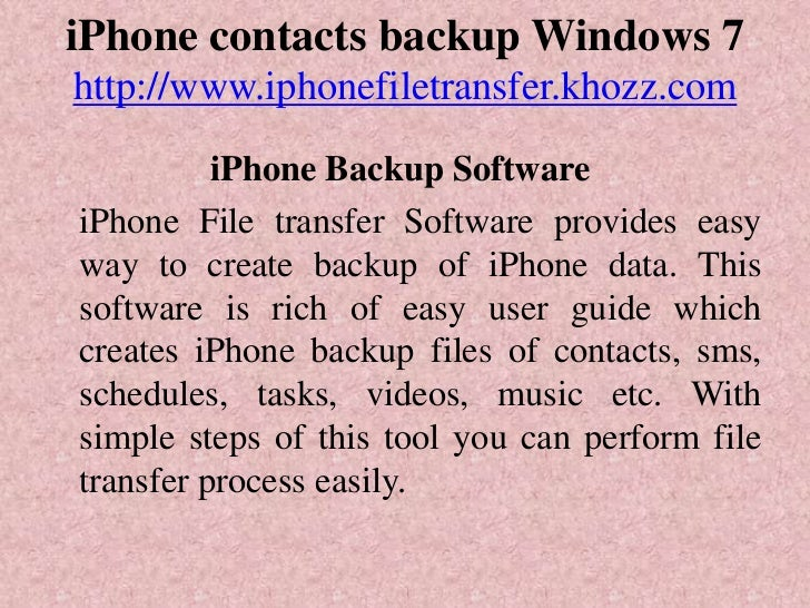 iphone 5 contacts to windows 7 pc