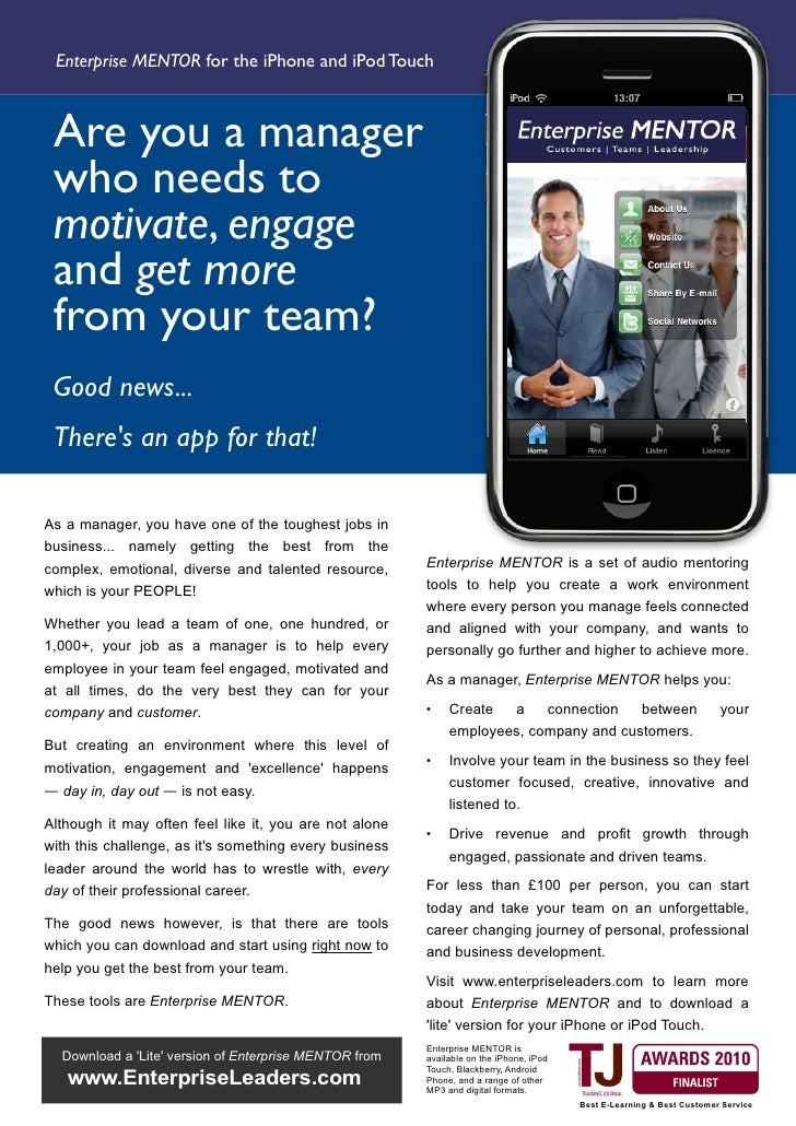 Enterprise MENTOR for the iPhone and iPod Touch     Are you a manager  who needs to  motivate, engage  and get more  from ...