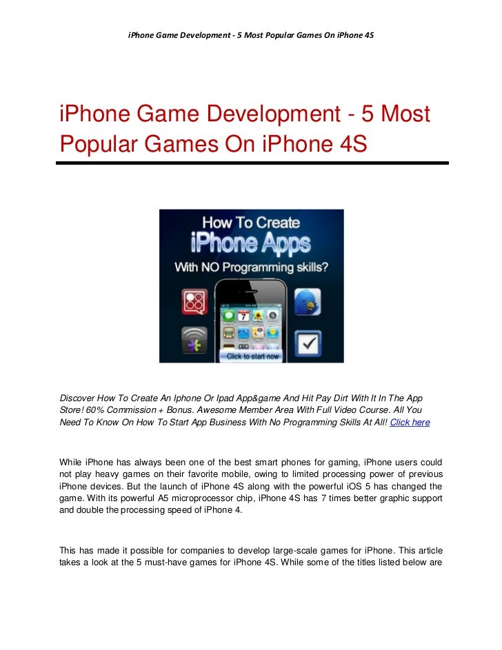 iPhone Game Development - 5 Most Popular Games On iPhone 4SiPhone Game Development - 5 MostPopular Games On iPhone 4SDisco...