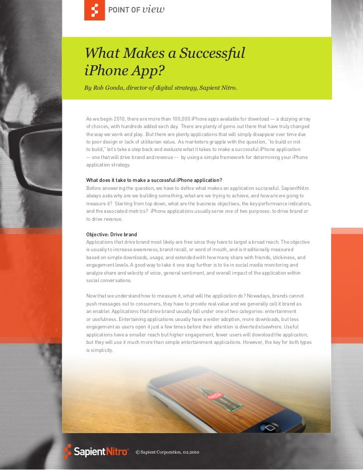 POINT OF viewWhat Makes a SuccessfuliPhone App?By Rob Gonda, director of digital strategy, Sapient Nitro.As we begin 2010,...