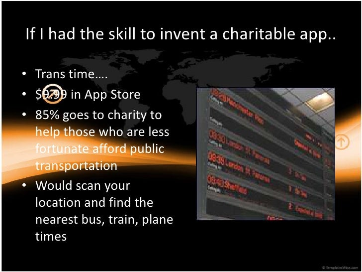 If I had the skill to invent a charitable app..<br />Trans time….<br />$9.99 in App Store<br />85% goes to charity to help...