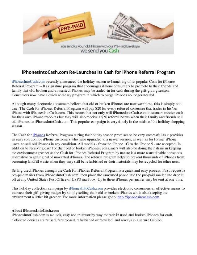 iPhonesIntoCash com Re-Launches Cash for iPhones Referral