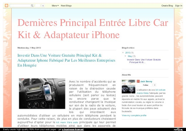 0 More Next Blog» Create Blog Sign In  Dernières Principal Entrée Libre Car  Kit & Adaptateur iPhone  Wednesday, 1 May 201...