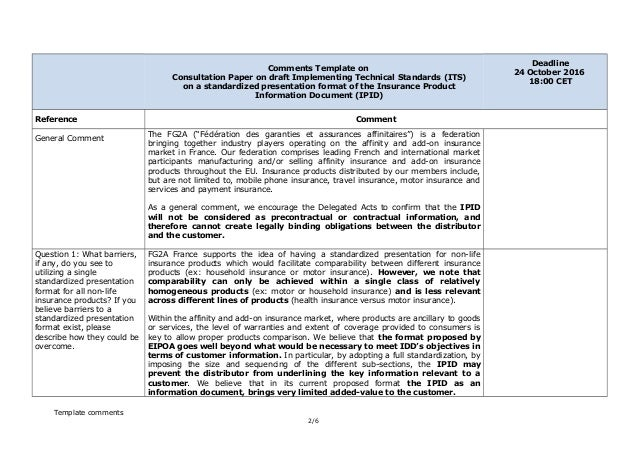 ipid insurance template  IPID consultation FG2A-france_response vfin