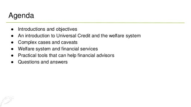 What financial advisers  need to know about  Universal Credit Slide 2