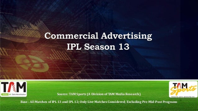 Source: TAM Sports (A Division of TAM Media Research) Base : All Matches of IPL 13 and IPL 12; Only Live Matches Considere...