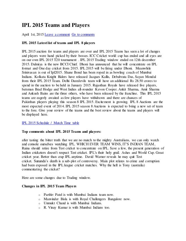Ipl 2015 Team Player List Pdf