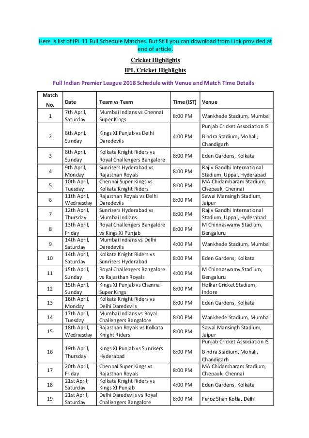 Vivo Ipl 2016 Schedule Pdf File