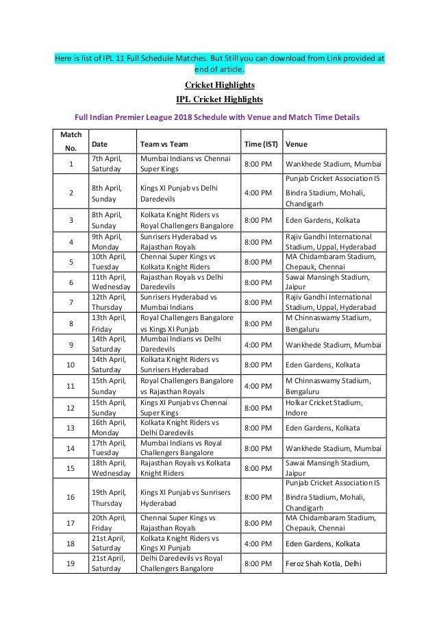 Vivo Ipl 2016 Schedule Pdf File