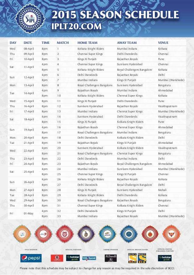 Ipl 2016 Full Schedule Pdf