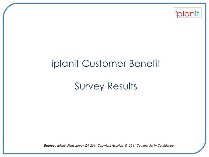iplanit Customer Benefit                     Survey ResultsSource : iplanit client survey Q4 2011 Copyright Aspirico © 201...