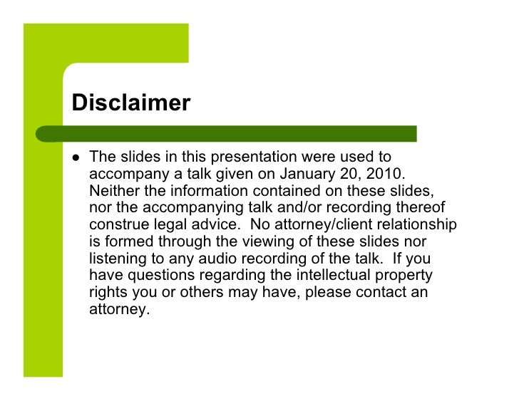 Ip law and the internet presentation 1 for Property disclaimer template