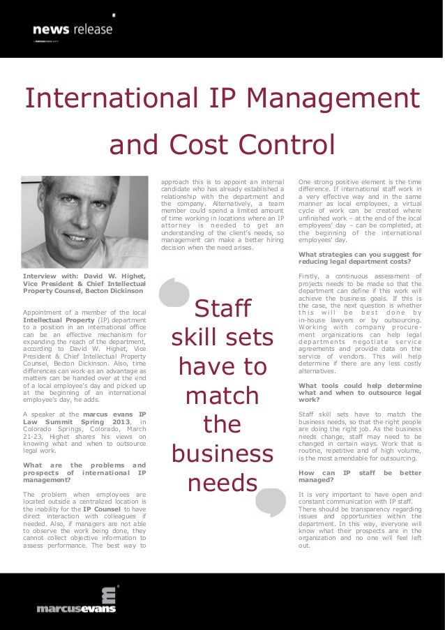 International IP Management                            and Cost Control                                            approac...