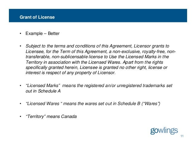 Sample License Agreement Template Grant Of License Example Ip